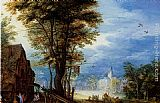 Jan the elder Brueghel - A Village Street With The Holy Family Arriving At An Inn [detail 1]